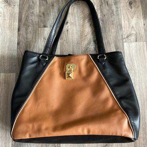 Nicole Miller Two-Tone Handbag Pink Lining